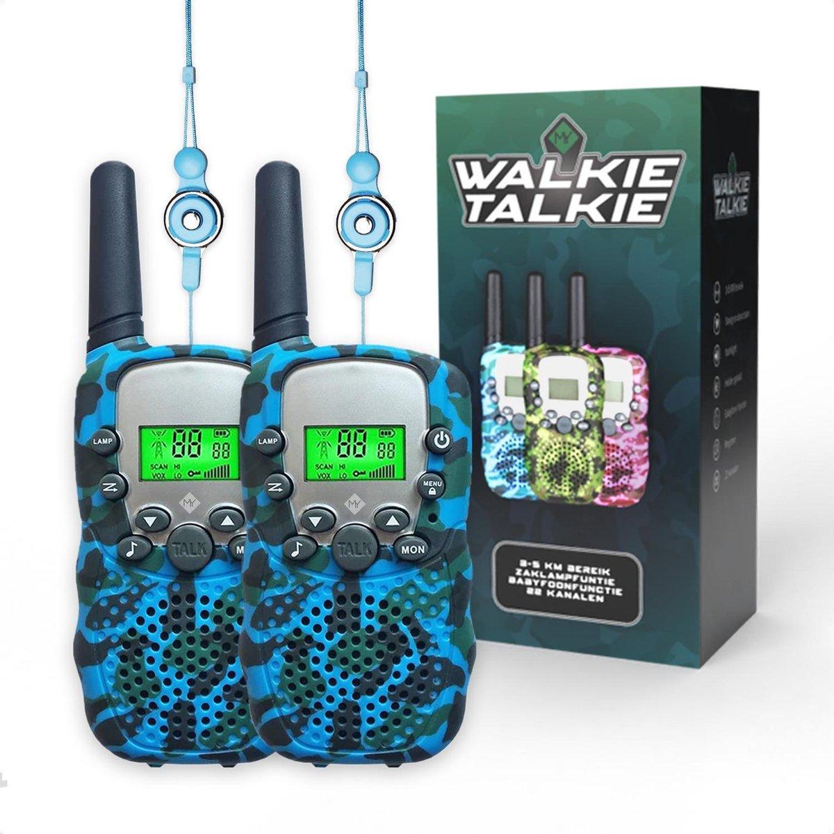 M.Y.© Premium Walkie Talkie Voor Kinderen en Volwassenen - Portofoon Tot 5 KM Bereik - Lichtfunctie - Camouflage Blauw - Gratis bijpassende Koordjes