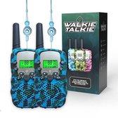 M.Y.© Premium Walkie Talkie Voor Kinderen en Volwassenen – Portofoon Tot 5 KM Bereik – Lichtfunctie – Camouflage Blauw - Gratis bijpassende Koordjes