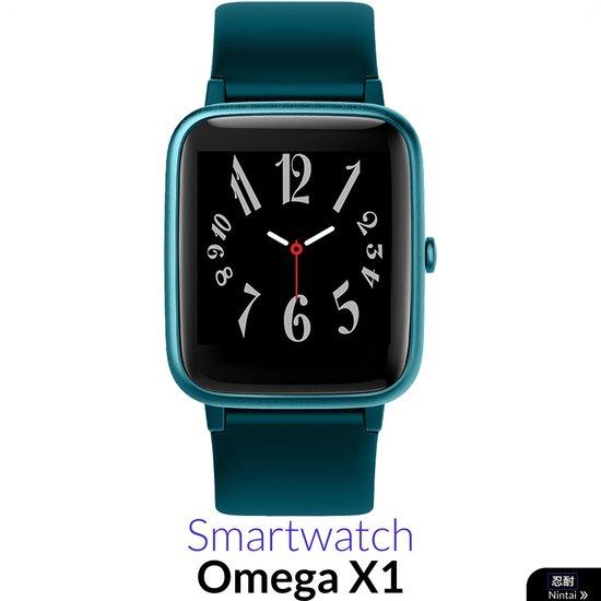 Nintai® - Smartwatch Heren met Hartslagmeter - Waterdicht - 9 Sporten - Groenblauw