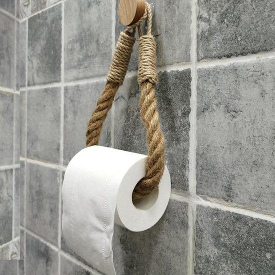 Toiletrolhouder zonder boren - Wcrolhouder zelfklevend - hangend - Wcrolhouder Zuignap - Touw - Vintage
