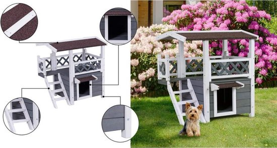 Hondenhok / kittenhuis met meerdere verdiepingen - Hondenhok - Hondenbak - Hondenmand - Dierenspeelgoed - Dierenhuis - Hok - NEW MODEL - LIMITED EDITION