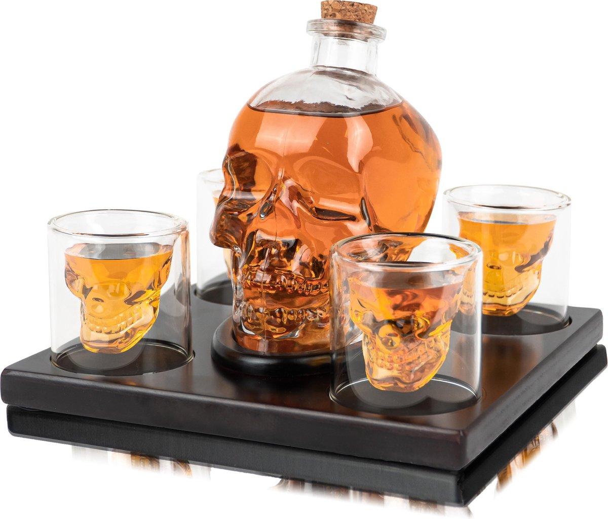 Whisiskey  Whiskey Karaf - Skull - Luxe Whisky Karaf Set - 0,9 L - Decanteer Karaf - Whiskey Set - I
