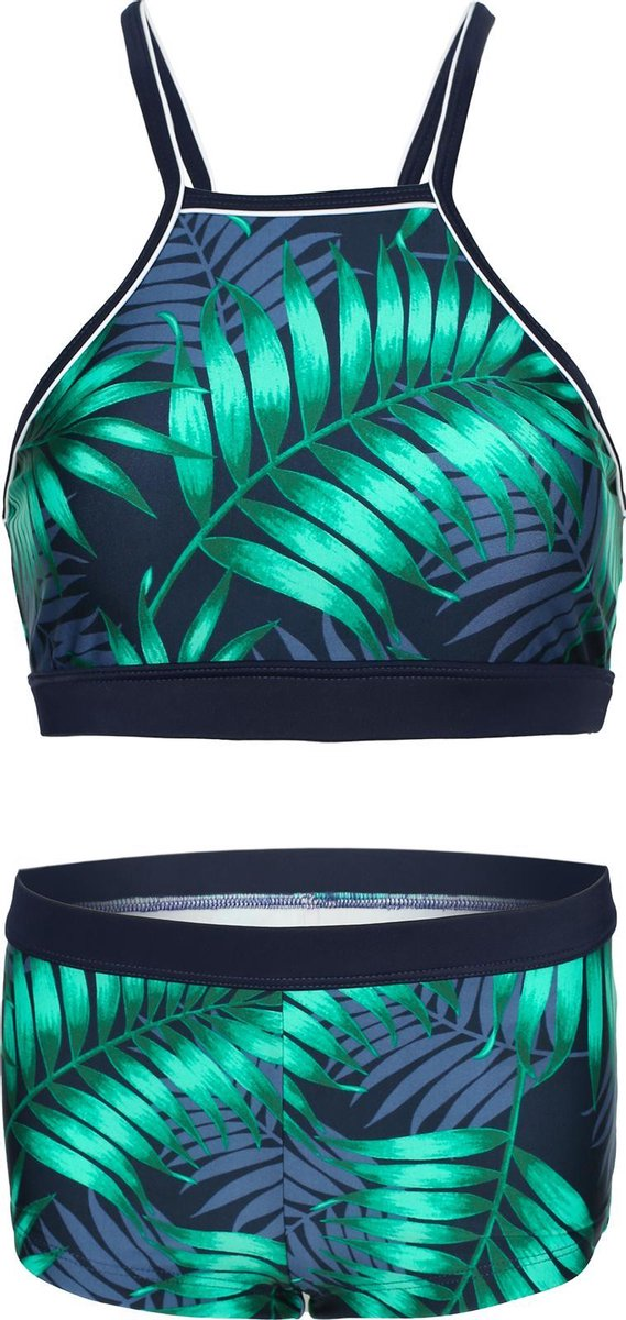 Bikini hipster broekje en crop top met racerback - Tropical leaf 140-146