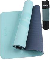 Anti Slip Fitness & Yoga Mat met Tas, Draagriem en Video Oefeningen - 6mm dik - Blauw