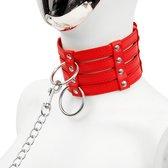 Banoch - Collar & Leash Flamboyante Red - rode pu leren halsband met riem - bdsm