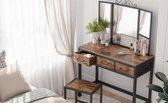 TheWarraichFurniture Dressing Table, Dressing Table, Cosmetic Table met 3-delige klapspiegel en 3 lades, stalen frame, met kruk, industrieel ontwerp, vintage bruin-zwart
