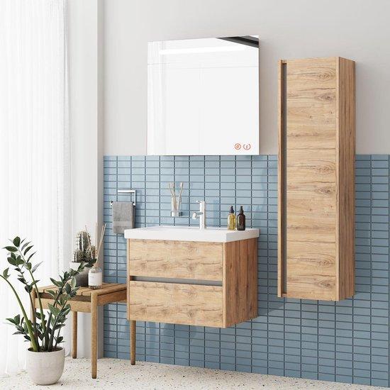 JETTA SET 65 cm Badkamermeubel (Dorato) +Wastafel Keramiek+Badkamerspiegel met Led-verlichting