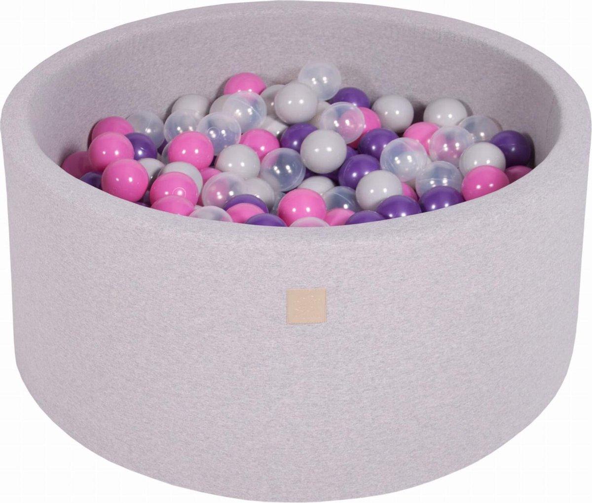 Ronde Ballenbak set incl 300 ballen 90x40cm - Licht Grijs: Donker Roze, Violet, Transparant, Grijs