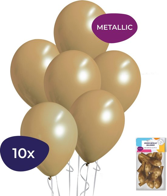 Gouden Ballonnen - Metallic Ballonnen - Helium Ballonnen - Verjaardag Versiering - 10 stuks