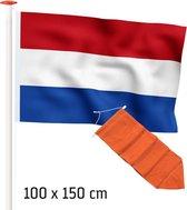 Vlaggenset geschikt voor voor gevelstok: Premium kwaliteit Nederlandse vlag 100x150 cm standaardblauw + Oranje wimpel 175 cm