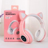 Mogi Products -Draadloze Kinder koptelefoon -Kattenoortjes Bluetooth- Met Led- Met Vrolijke Lichtjes- Roze- Met Zachte Oorkussens-Inklapbaar-Met Ingebouwde Microfoon