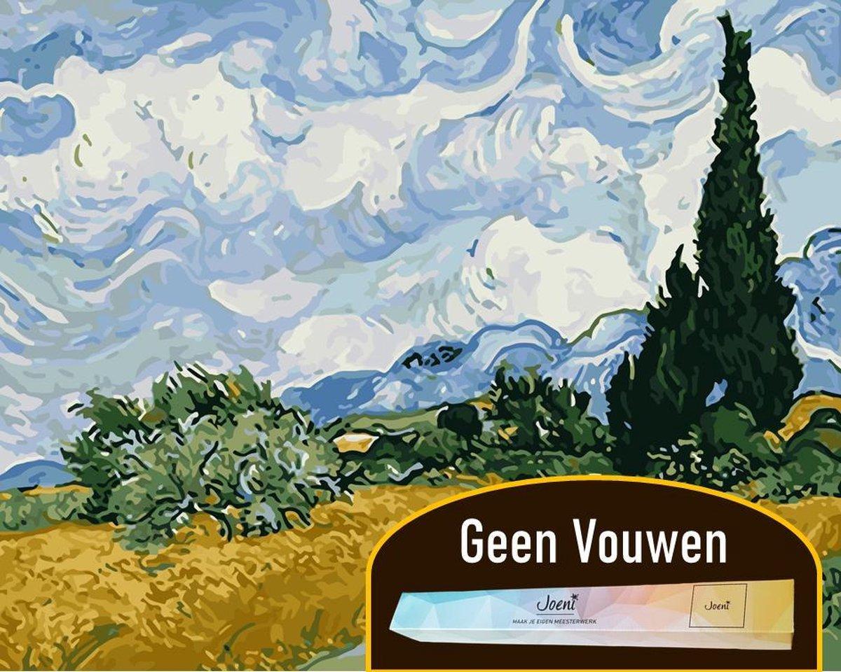Joeni® Schilderen Op Nummer - 40x50 cm - Abstracte Kunst: Korenveld Landschap (Van Gogh) - Volwassenen - Geschenkverpakking