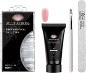 Polygel Kit 30 ml - Kleur Natural Pink - Inclusief Nageltips - Kwastje - Nagelvijl - Geschikt voor UV en LED Lamp - Polygel Nagels
