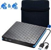JouwGoods® Externe DVD Speler en Brander - DVD/CD Drive voor Laptop of Macbook - Data en Voeding Via USB 3.0 of USB C - Inclusief Beschermhoes en Kabel - Zwart