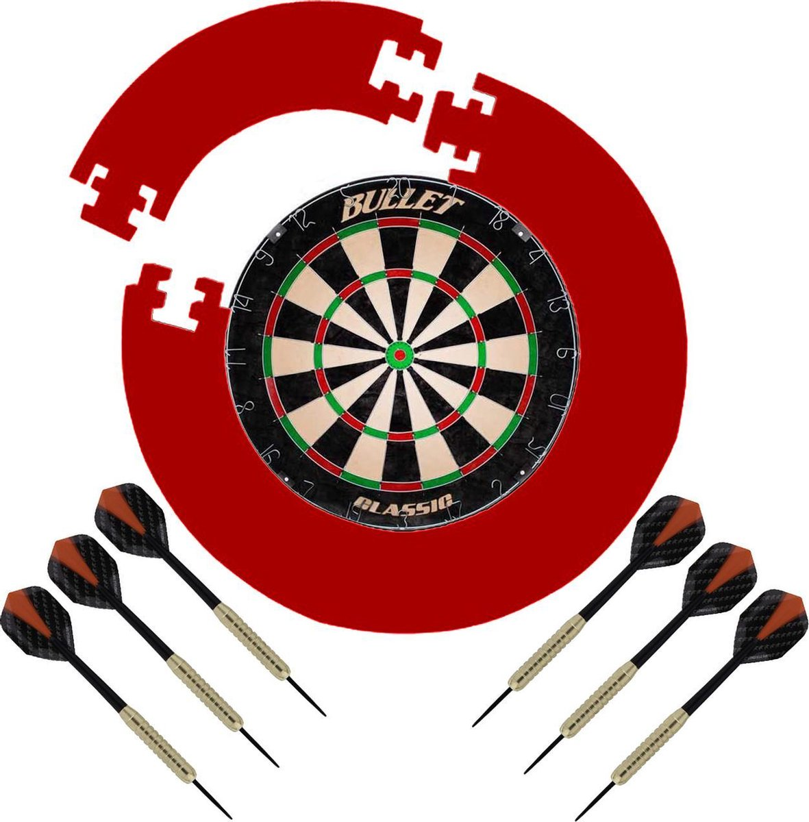 Dragon Darts Bullet Classic - dartbord - dartset compleet surround ring - rood