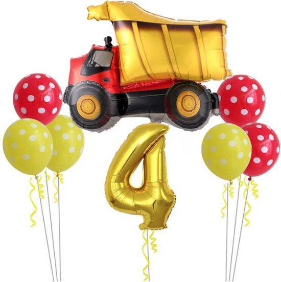 Geweldig 11 delig ballonpakket met grote kiepwagen en groot cijfer 4 (80 cm hoog)