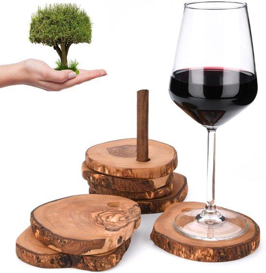 OLIVIEU ~ Handgemaakte Luxe Olijfhouten / Houten Onderzetters & Onderleggers voor Glazen ~ 6 Stuks met Rank ~ Coaster Grossique ~ Duurzaam Cadeau Interieur