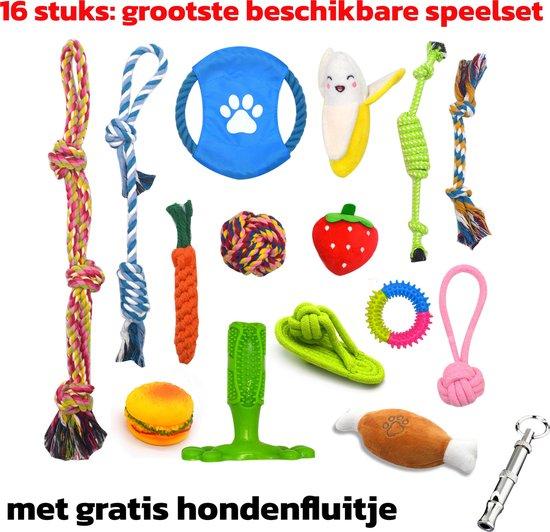 Honden speelgoed - Grootste set - 16 speeltjes - Met gratis Hondenfluitje -...