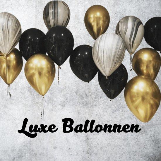 Blije Ballon® - Luxe Ballonnen - 15 Stuks - Ballonnen Verjaardag - Ballonnenboog - Goud - Zwart - Marmer