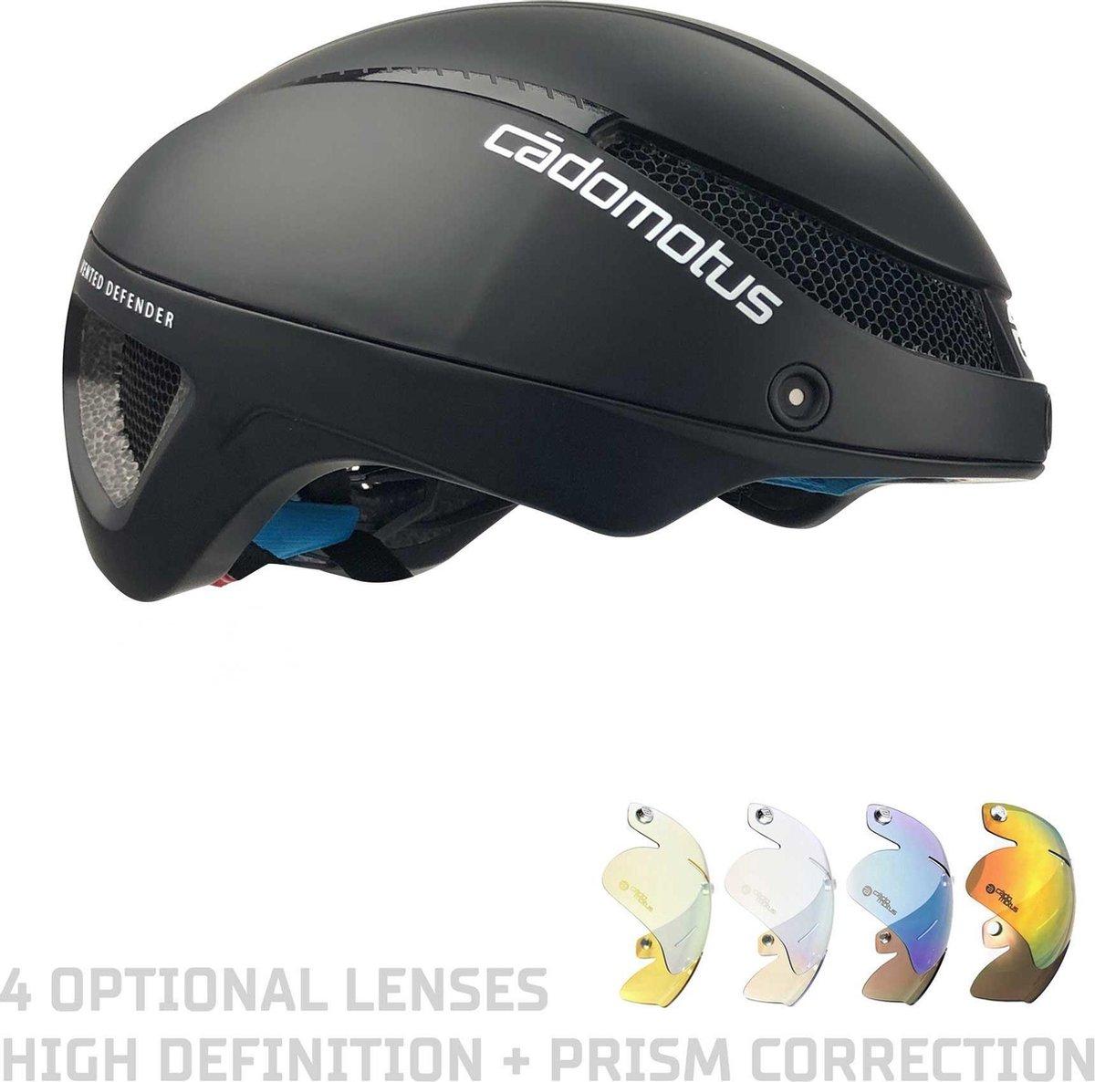 CADOMOTUS Omega Aero Helm | Professionele Aerodynamische Helm | Schaatshelm | Fietshelm | Triathlonhelm | Ultra Licht & Lage weerstand | Voor Volwassenen | Maat M (54 - 57 cm) Matzwart | Vizier Optioneel