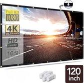Membeli® 120 inch Beamer Scherm Projectiescherm - Projector Scherm Uitrekbaar en Opvouwbaar - 16:9 - Verbeterd Materiaal Beamer Doek
