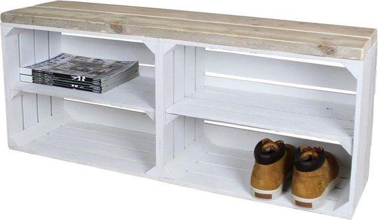 Steigerhoutpassie Schoenenkast Wit Legplank Wit Lang 100x30x43cm - Steigerhoutpassie