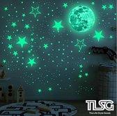 TLS Goods | Glow in the dark sterren | 436 stuks | sterren & maan stickers | Glow in the dark stars and moon | Kinderkamer | Lichtgevend| Sticker | Kinderen | Muurstickers | Sterren | Nacht | Sterrenhemel | Decoratie | Sinterklaas - Kerst