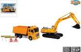 H - 2-Play Werkvoertuigen - Kiepwagen en Graafmachine met Licht & Geluid - Speelgoedvoertuig