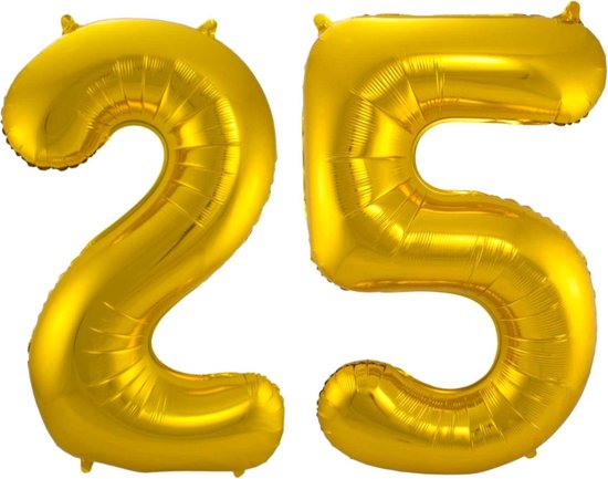 Ballon Cijfer 25 Jaar Goud 36Cm Verjaardag Feestversiering Met Rietje