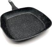 Sterk Grillpan 28cm in Steen-look, Gegoten Aluminium, Anti-Aanbaklaag, Geschikt voor Alle Warmtebronnen, ook inductie
