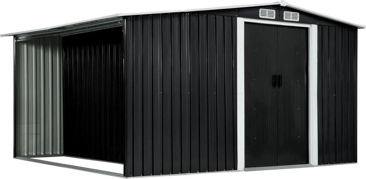 VidaXL Tuinschuur met schuifdeuren 329,5x312x178 cm staal antraciet online kopen