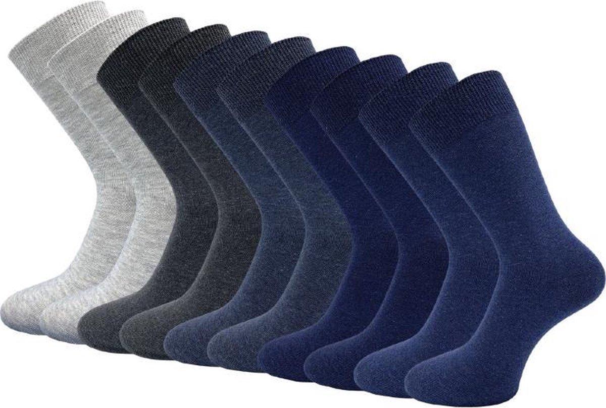 10 paar Senior Herensokken - 100% Katoen - Naadloos - Blauw-Antraciet-Grijs - Maat 43-46