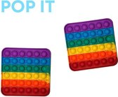 Pop IT set 2 x vierkant regenboog - pop it pakket - regenboog set - alternatief stressbal