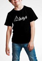 T-shirt | Harry Potter inspired | Always | Zwart | Maat 140 (9-11 jaar)