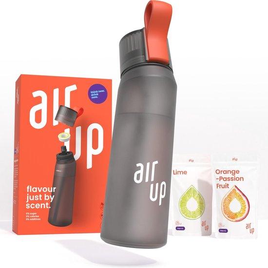 air up® Starter Set 650 ml Antraciet – geur pods Limoen & Sinaasappel Passievrucht - voor het op smaak brengen van water - 0 Suikers, 0 calorieën