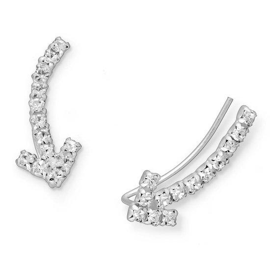 EAR IT UP - Oorklimmers - Ear climbers - Earclimbers - Ear crawlers - Pijl - Arrow - Kristalglas -Klauwzetting - 925 sterling zilver - 19 x 8 mm - 1 paar
