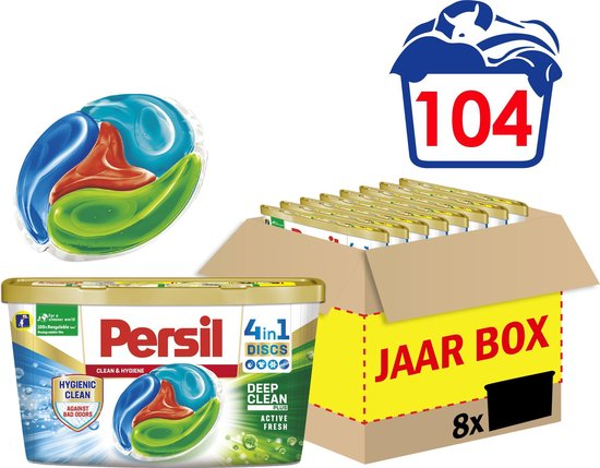 Persil 4in1 Discs Clean & Hygiene Wascapsules - Wasmiddel Capsules - Voordeelverpakking - 8 x 13 wasbeurten