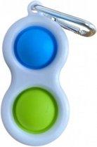 Dielay - Simple Dimple - Pop It - Fidget Toy Sleutelhanger - 8x4 cm - Groen en Blauw