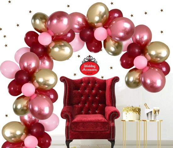 50 stuks Bruiloft Gala ballonnen pakket - Nedville - Luxe Ballonnen chrome roze, pastel roze, chrome goud en wijnrood - Helium Ballonnenset, Feest, Verjaardag, Party, Wedding, Valentijn. Incl. ballonsluiters met wit lint.