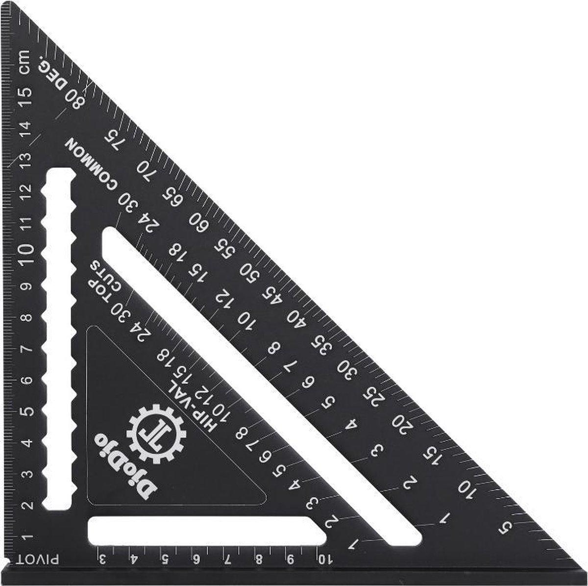 DjoDjo - Winkelhaak - Metrische Driehoek - Speed Square - Schrijfhaak - Blokhaak - Verstekhaak - 5-i