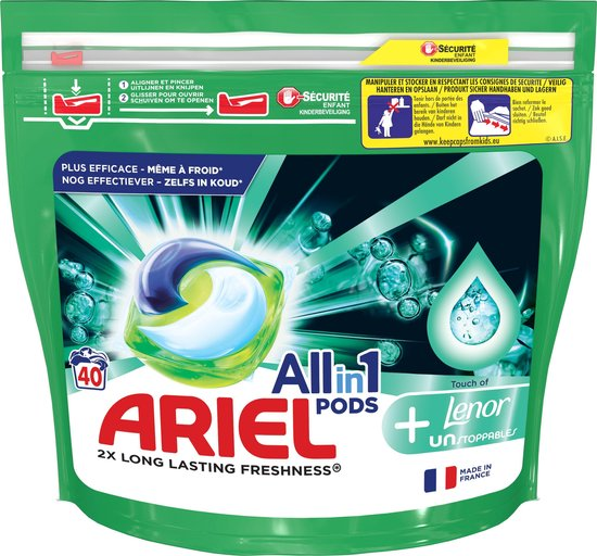 Ariel All-in-1 Pods + Unstoppables Wasmiddel - 40 Wasbeurten - Wasmiddel Pods