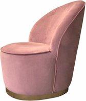 Amira Design Fauteuil – Velvet Fauteuil Roze – Velvet Stoel Roze – Goud – L58 x D58 x H67