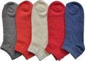 Dames Multipack sneakersokken - vrouwen maat 36/41 - 10 PAAR - assortiment kleuren - enkelsokken