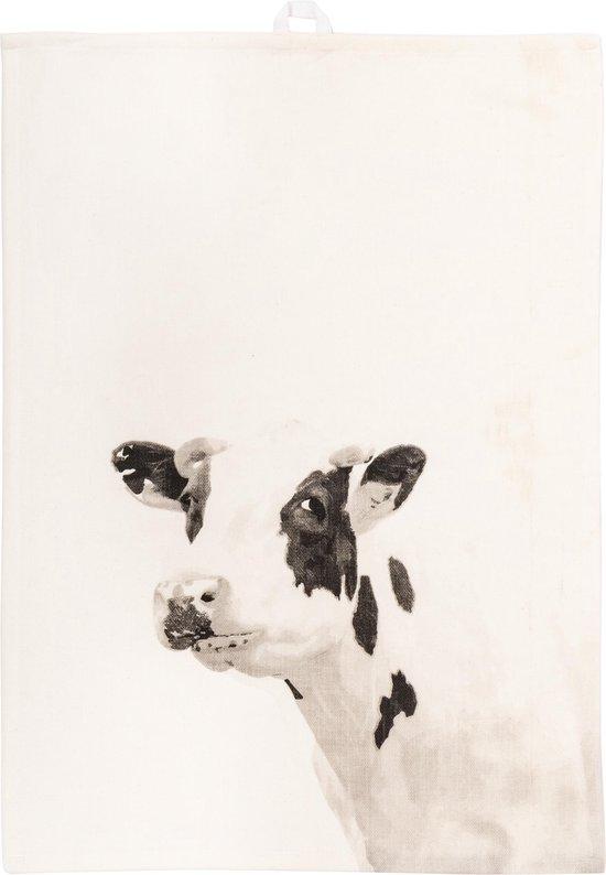 Tiseco Farm Theedoek – Katoen – Set 2 stuks – Wit – Koe