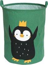 Opbergmand kinderkamer speelgoed - Wasmand - Pinguin groen - Opbergmand met handvatten - Wasmand voor Kinderkamer of Babykamer - Canvas - Opbergzak Speelgoed - Baby Cadeau jongen en meisje