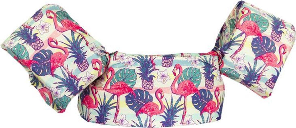 HappySwimmer - Zwembandjes/zwemvest voor peuters en kleuters met Flamingo print