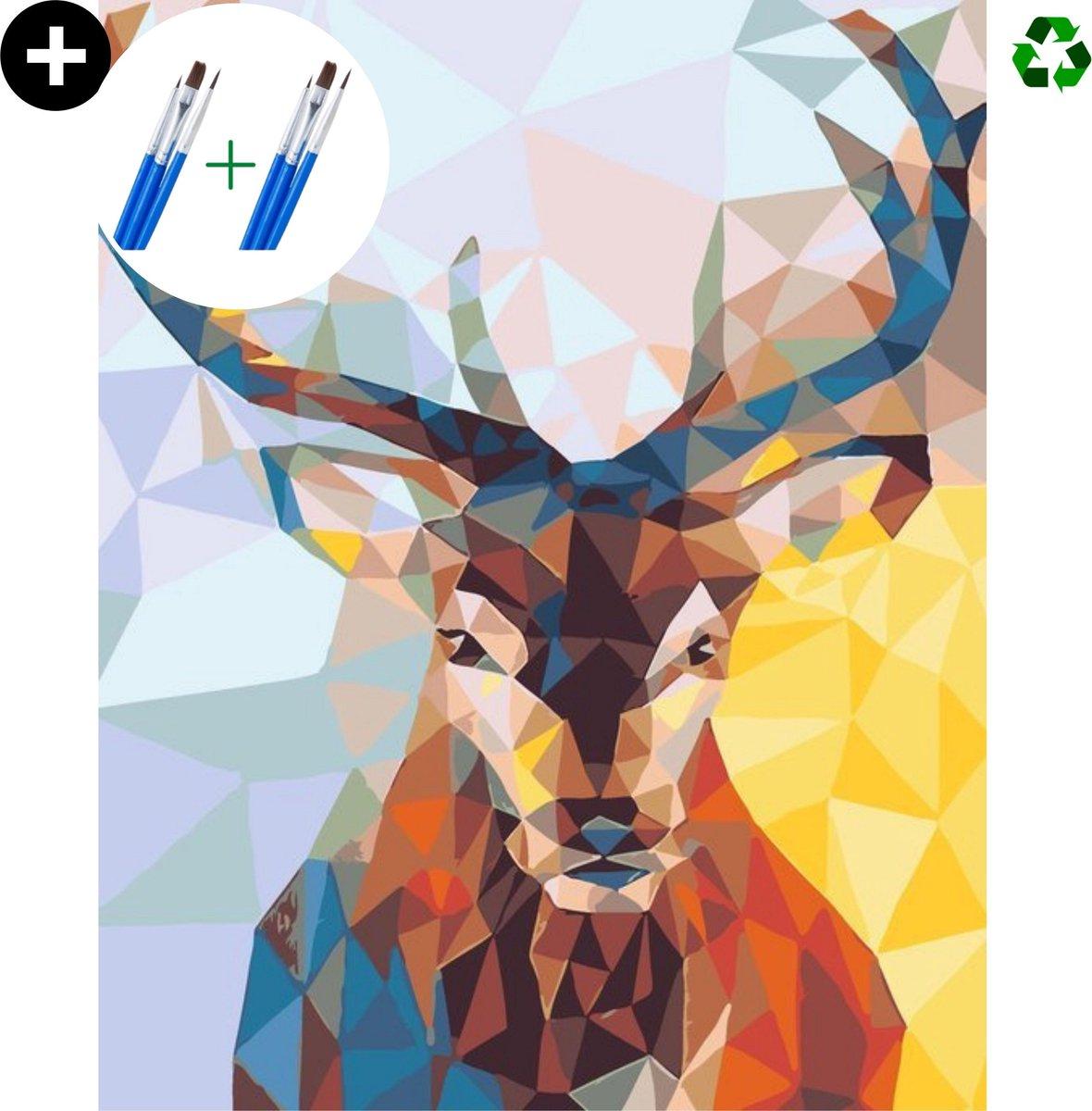 deeds.® - Schilderen op nummer volwassenen - Paint by number - Verven op nummer - Hert - Deer - DIY