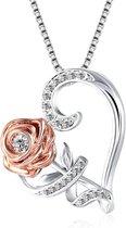 Ketting dames zirkonia roos hart - verstelbaar 46+4cm - Zilver - kettingen - cadeau voor haar - verj