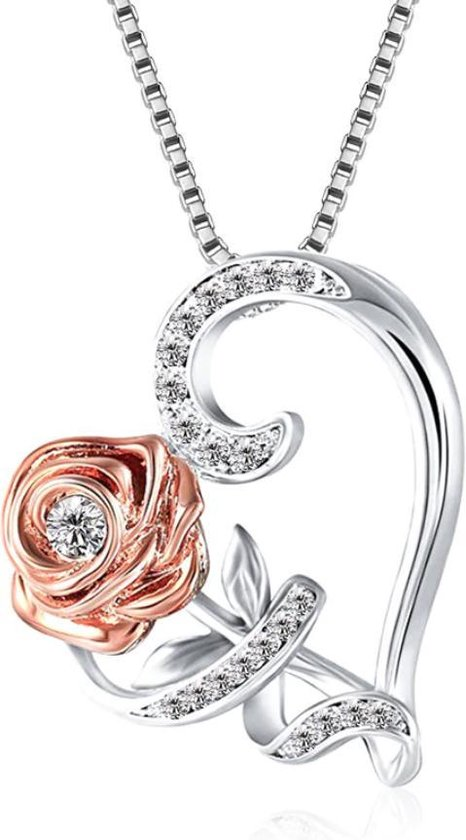Ketting dames zirkonia roos hart - verstelbaar 46+4cm - Zilver - kettingen - cadeau voor haar - verjaardag - moederdag cadeautje - mama