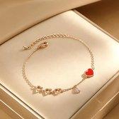 Armband dames 5 Hartjes goudkleurig - 17+4cm - liefde - cadeau voor haar - armbandje - armbandjes dames - moederdag cadeautje - mama - vriendschapsarmbandjes